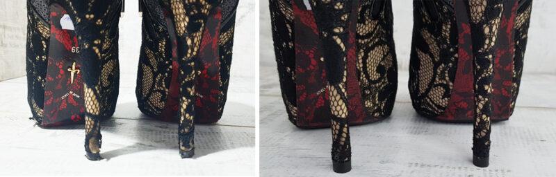 реставрация кружева на каблуках туфель Cesare Paciotti: фото до и после