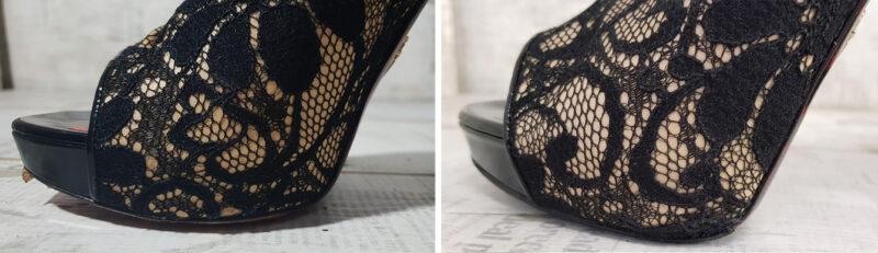 реставрация кружева на туфлях Cesare Paciotti