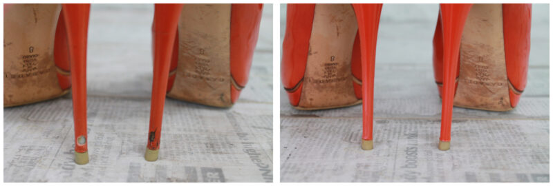 реставрация каблуков туфель Casadei: фото до и после